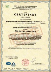 Certifikát environmentálního managementu dle ISO 14001