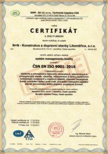 Certifikát dle ČSN EN ISO 9001