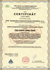 Certifikát managementu bezpečnosti dle OHSAS 18001