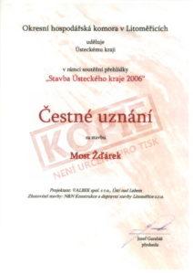 """Čestné uznání v rámci soutěžní přehlídky """"Stavba Ústeckého kraje 2006"""""""
