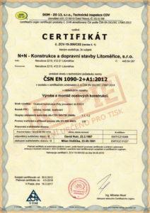Certifikát procesu provádění ocelových konstrukcí ČSN EN 1090-2+A1:2012