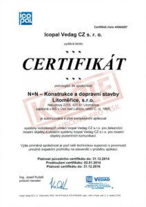 Osvědčení pro aplikaci hydroizolačních materiálů ICOPAL VEDAG CZ