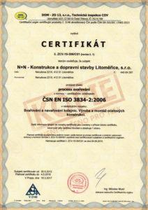 Certifikát procesu svařování ČSN EN ISO 3834-2:2006 (str. 1)