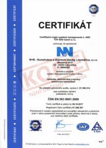 Certifikát managementu jakosti dle ISO 9001 pro pozemní komunikace