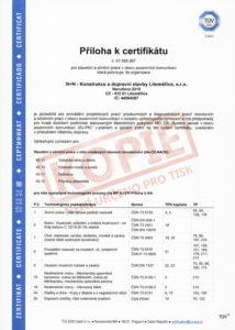 Příloha k certifikátu managementu jakosti dle ISO 9001 pro pozemní komunikace (str. 1)