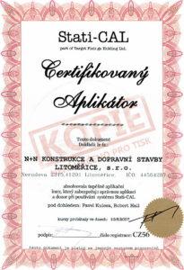 Certifikát k aplikaci systému Stati-CAL