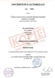 Osvědčení o autorizaci v oboru dopravní stavby