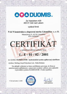 Certifikát k aplikaci hydroizolačního systému Eliminator