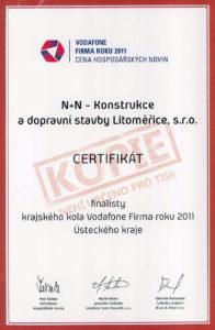 Certifikát finalisty krajského kola Vodafone Firma roku 2011 Ústeckého kraje
