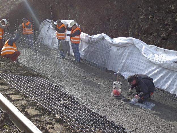 výstavba gabionové zdi v žst. Malá Veleň