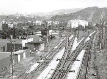 rekonstrukce výhybek v žst. Ústí nad Labem Střekov, celkový pohled na opravenou skupinu výhybek