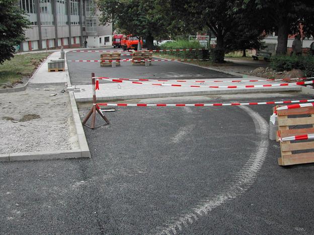 rekonstrukce městské komunikace v Litoměřicích, z průběhu výstavby