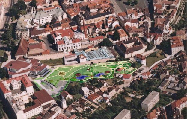 """park """"U Hvězdárny"""" v Litoměřicích, vizualizace umístění parku do historického centra města"""