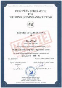 Certifikát evropského specialisty na svařování betonářských ocelí