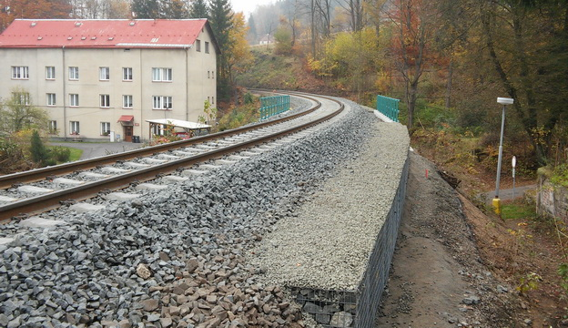 trať Liberec-Tanvald, nová gabionová zídka