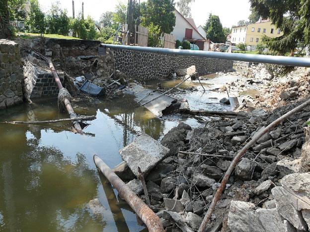 Dolní Habartice, most zničený povodní