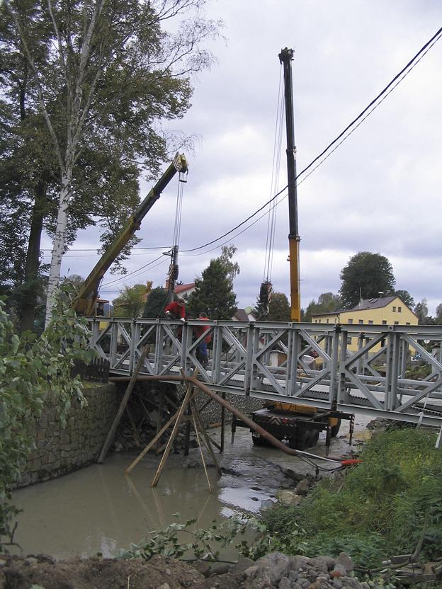 Dolní Habartice, demontáž mostního provizoria