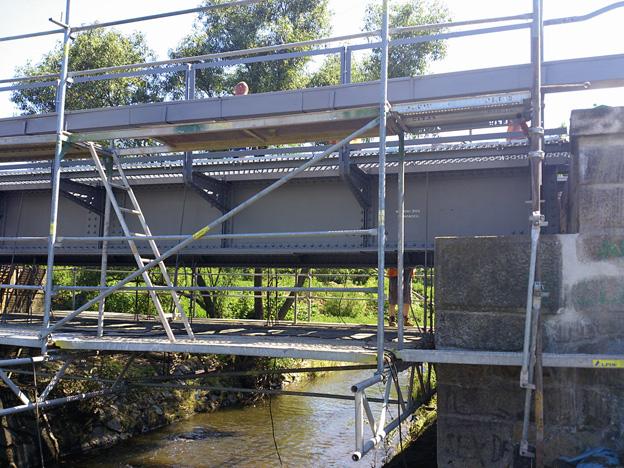 mosty na trati Dvory-Třeboň, spárování opěr mostu