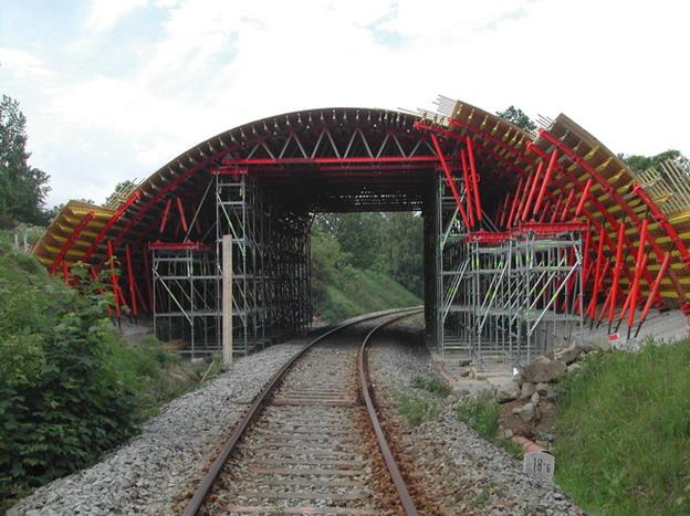 most Žďárek, podpůrná konstrukce bednění klenby