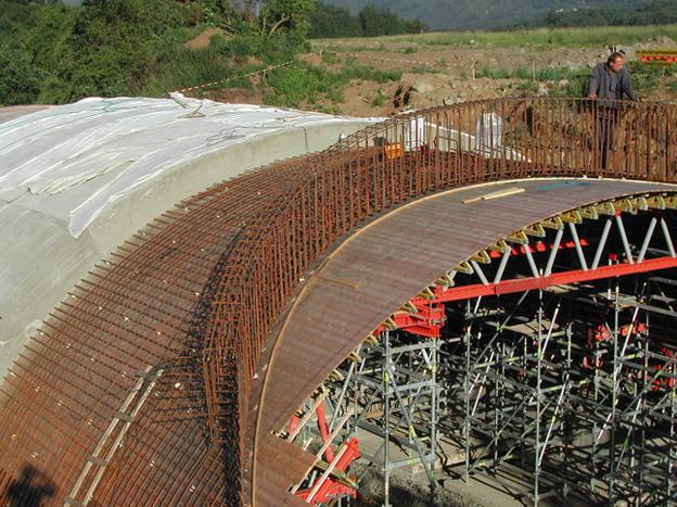 most Žďárek, betonáž klenby po etapách