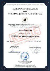 Certifikát evropského svařovacího inženýra