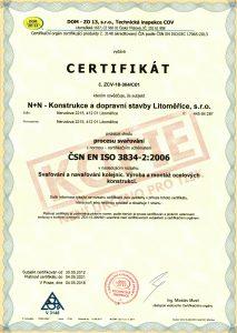 CERTIFIKÁT procesu svařování ISO 3834-2:2006 a