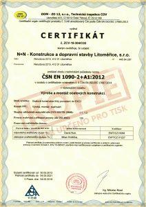 CERTIFIKÁT výroba a montáž ocelových konstrukcí ČSN EN 1090-2+A1:2012