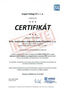 Certifikát Icopal Vedag CZ