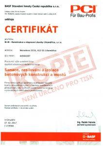 Certifikát BASF sanace, zesilování a izolace betonových konstrukcí mostů