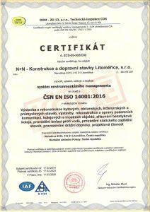 Certifikát dle ČSN EN ISO 14001