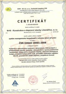 Certifikát dle OHSAS 18001