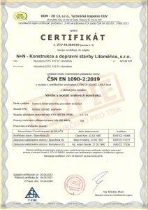 Certifikát procesu provádění ocelových konstrukcí ČSN EN 1090