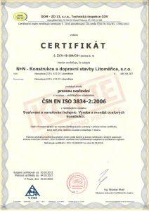 Certifikát procesu svařování ČSN EN ISO 3834 a