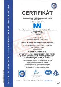 Certifikát v oboru výstavba, rekonstrukce a opravy pozemních komunikací a