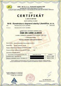 CERTIFIKÁT ČSN EN 1090-2:2019