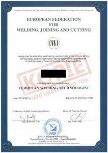 Certifikát evropského svařovacího technologa