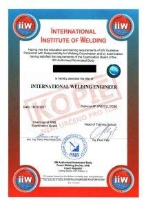 Certifikát mezinárodního svařovacího inženýra
